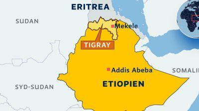 Karta på Etiopien med regionen Tigray och staden Mekele utmärkt.