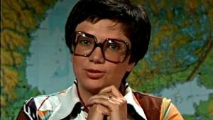 Simone Alopaeus juontaa Träff-ohjelmaa (1976).