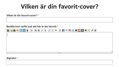 Ett formulär med fält för vilken som är din favorit-cover.