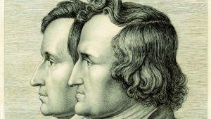 Ludwig Emil Grimms dubbelporträtt av bröderna Wilhelm och Jacob Grimm, 1843.