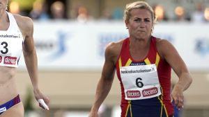 Hanna-Maari Latvala och Hanna Wiss springer 100 meter, FM 2017.