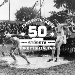 3000 meter hinder i OS i Paris 1924 med logon för Svenskfinlands 50 största idrottshjältar.