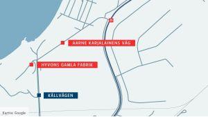 En karta över var Aarne Karjalainens väg skulle bildas i Hangö.