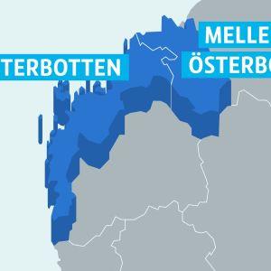 Karta på landskapen Österbotten och Mellersta Österbotten
