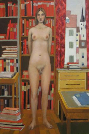 Målning av naken människa som har en kvinnas överkropp och en mans nedredel.