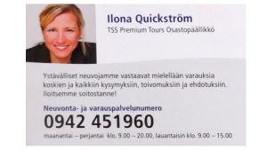 Fiktiivisen Ilona Quickströmin käyntikortti