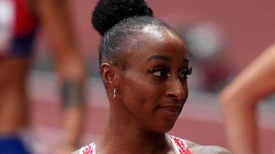 Jasmine Camacho-Quinn efter semifinalen på damernas 100 meter häck.