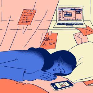 Illustrtaion av uttmattad kvinna på en säng