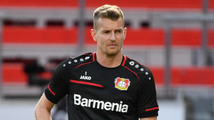 Bayer Leverkusens målvakt Lukas Hradecky i matchen mot Rangers.