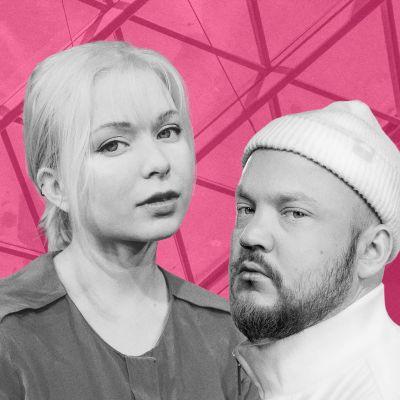 Salla-Marja Hätinen ja Pyhimys vaaleanpunaista taustaa vasten.
