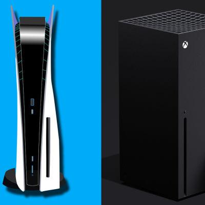 Bildkollage på PS5 och Xbox series X.
