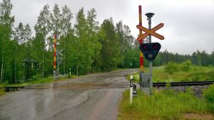 Plankorsning vid Mangård i Mjölbolsta.