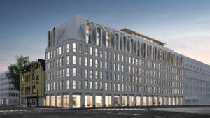 En skiss över hotel Hamburger börs nybygge i Åbo