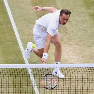Tennisspelaren Henri Kontinen går på nät.