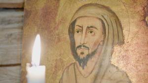 Franciskus från Assisi på kapellväggen på Hamnö