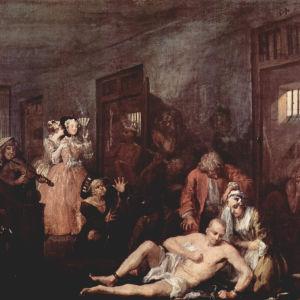 """""""Hullujenhuone"""" (nro 8). Tom on vaipunut hulluuteen ja joutunut Betlehem Hospitaliin eli """"Bedlamiin"""". Kaksi tyylikästä leidiä ovat tulleet katselemaan hulluja kuten oli tapana. Uskollinen Sarah Young itkee Tomin rinnalla. William Hogarthin maalaus 1730-lu"""