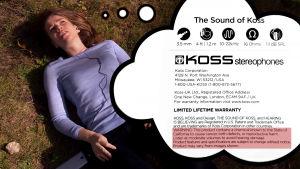 Nainen kuuntelee musiikkia ja varoitusmerkinnät grafiikkana.