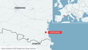 Karta med Perpignan markerat.