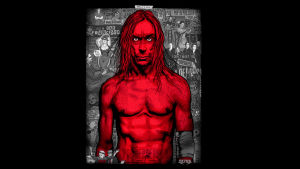 Paidaton, punainen Iggy Pop maalauksessa. Kuva elokuvasta American Valhalla.
