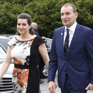 Icelandic presidential couple, President of Iceland Gudni Thorlacius Johannesson and his wife Eliza Jean Reid, hosted a reception at the Finlandia Hall in Helsinki, Finland on May 16, 2018.