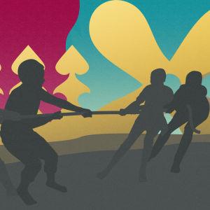 En animerad bild med Silhuetter av 4 personer som har dragkamp framför två flaggor av dels Kimitos kommunvapen och dels Dragsfjärds kommunvapen.