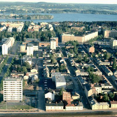 Ilmakuva Amurin kaupunginosasta Tampereelta 1970-luvun alusta.
