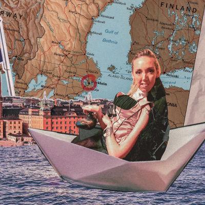 Ett kollage. Längst fram en rullstolsburen kvinna som sitter i en pappersbåt. I bakgrunden hav, vy av Stockholm och karta över Sverige.