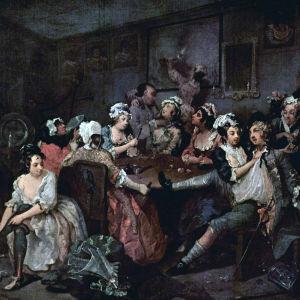 """""""Orgiat"""" (nro 3). Humalainen Tom nauttii kahden prostituoidun huomiosta Covent Gardenin Rose Tavernissa. Kaksi naista pihistävät sillä välin häneltä kellon. Etualalla William Hogarthin maalaus 1730-luvulta. (Sir John Soane's Museum, Lontoo - www.soane.org"""