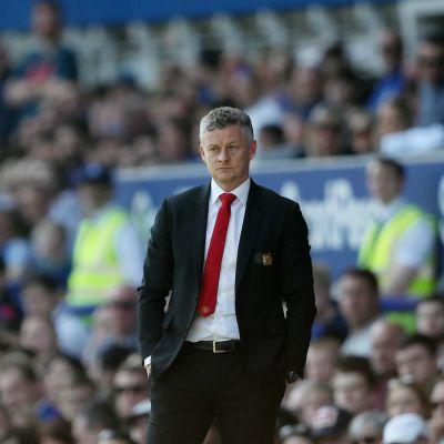 Manchester Uniteds chefstränare Ole Gunnar Solskjær under matchen mot Everton.