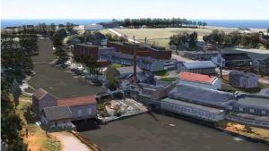 Ett bildmontage som visar Billnäs bruks gamla byggnader vid stränderna av Svartån. På bilden syns också hur nya byggnader, till exempel ett stort hotell, kunde placeras i bruket enligt den nya detaljplanen. Hotellet ses som stora mörkröda bygnnader.
