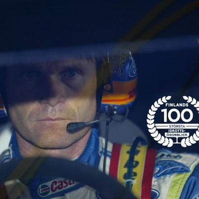 Marcus Grönholm med logon för Finlands 100 största idrottsögonblick.