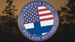 USA:s och Finlands flaggor med texten America first, Finland second.