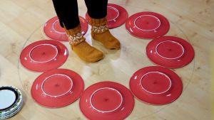 Kahdeksan lautasta lattialla.