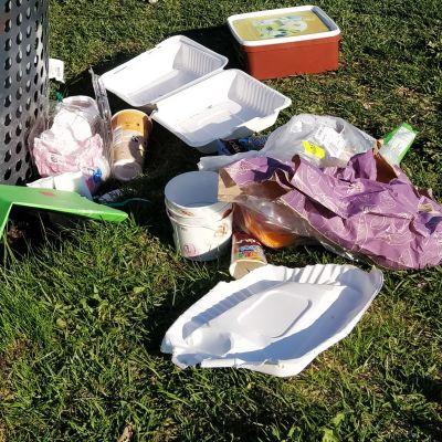 Roskia maassa roska-astian vieressä.