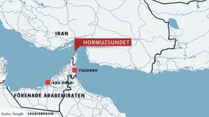 En karta som visar det geografiska läget för Hormuzsundet.