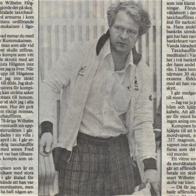 Tidningsurklipp från rättegången mot Fred Högsten.