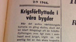 Artikel i tidningen Västra Nyland från den 2 september 1944.