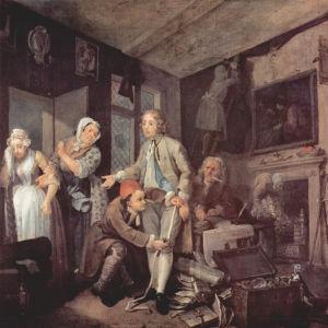 """""""Perillinen"""" (kuva 1). Tom on edesmenneen saidan isänsä kotona, jonne rohmutut rikkaudet alkavat paljastua. Tom yrittää maksaa palvelustyttö Sarah Youngille, jonka kultasormus paljastaa petetyn lupauksen avioliitosta. William Hogarthin maalaus 1730-luvult"""