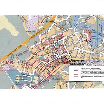 En karta över Karis centrum visar vilka begränsningar som ska gälla.