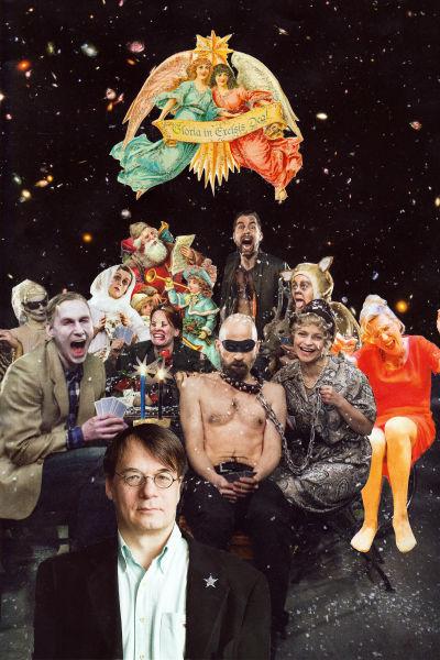 Ett kollage med Kaj Martin i förgrunden. I bakgrunden syns färggranna figurer som firar och spelar kort.