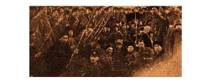 Pietarin suomalaisen punakaartin sotilaita odottamassa kuljetusta rintamalle.