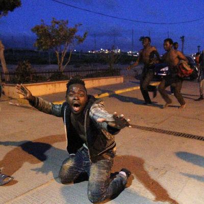 Immigranter jublar på spanska sidan av stängslet