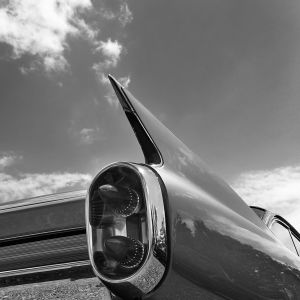 The typical tailfin of a 1960 Cadillac Coupe de Ville as the car is shown at the 'US Car Show' in Pforzen, Germany, 01 June 2014. Classic car owners were able to present their cars to the public during this meeting for vintage car enthusiasts.