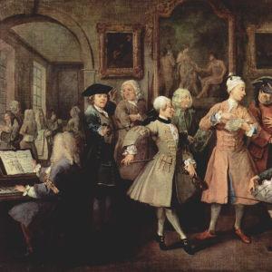 """""""Nousu"""" (nro 2). Tomilla on muodikkaan herrasmiehen tapaan aamuvastaanotto kaupunkilukaalissaan. Paikalla on jockey, tanssimestari, maisemapuutarhuri, runoilija, räätäli ja muusikko (jonka uskotaan olevan Hogarthin kilpailija Händel). William Hogarthin ma"""