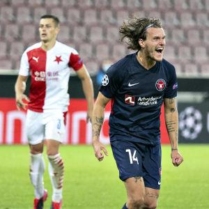 Alexander Scholz sköt segermålet mot Slavia Praha.
