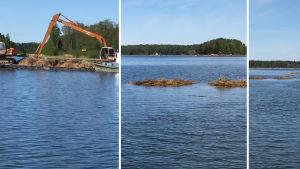 grävmaskiner på en pråm och vasshögar i vattnet