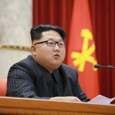 Kim Jong-Un på ett möte i Pyongyang den 28 december 2015