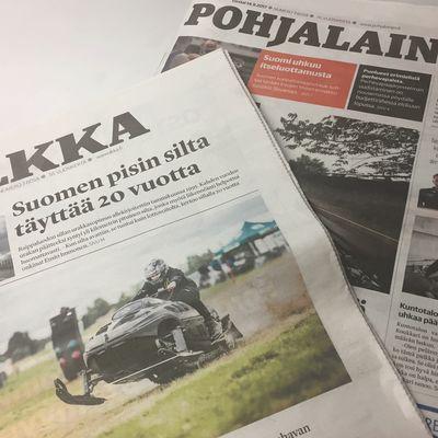 Ilkan ja Pohjalaisen ensimmäiset tabloid-kokoiset koelehdet.