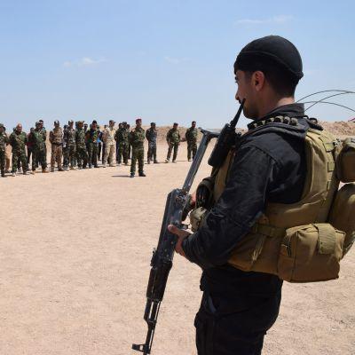 """Sunnitaistelijoista koottu """"Fallujan kilpi""""-ryhmä taistelee Irakin armeijan rinnalla Isisiä vastaan. Kuvassa taisteluharjoitukseen osallistuvia  sunnitaistelijoita 12.4. 2016."""
