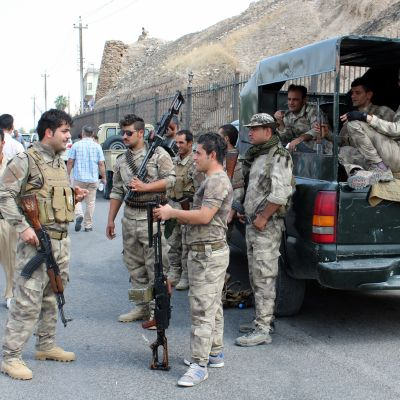Kurdiska soldater i Kirkuk, Irak.